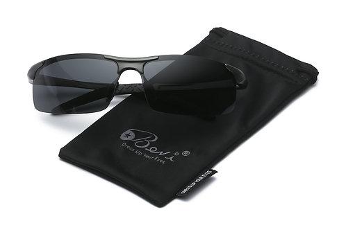 Bevi Polarized Men Square Sport Aluminum Magnesium Driving Riding Sunglasses
