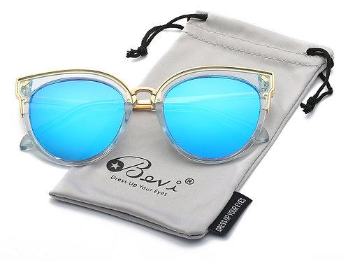 Bevi Women's Fashion Polarized Cat Eye Polycarbonate Metal Sunglasses