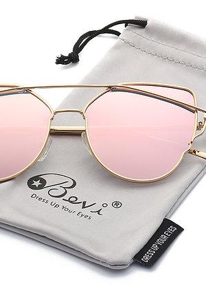 Bevi Polarized Cat Eye Street Fashion Metal Frame Women Sunglasses