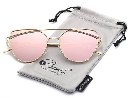 Bevi Polarized Cat Eye Street Fashion Metal Frame Women Sunglasses