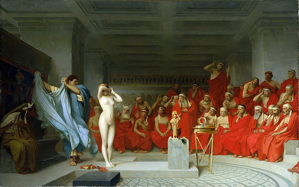A painting depicting Phryne's lawyer removing her robe before her jury.