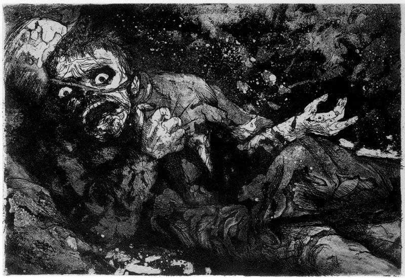 A severely wounded soldier with unclear injuries looks forward in terror. His skin looks burned and tattered along with his clothing and environment. Everything is black and white.