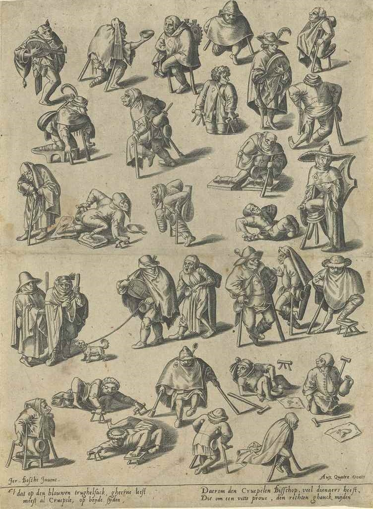 """Pencil studies of beggers, disabled people, fools, and musicians are all crowded around one another, some holding their hands out for alms, others playing music. All the figures have an aura of grotesqueness about them, and their faces are portrayed as classically """"stupid"""" and """"simple"""""""