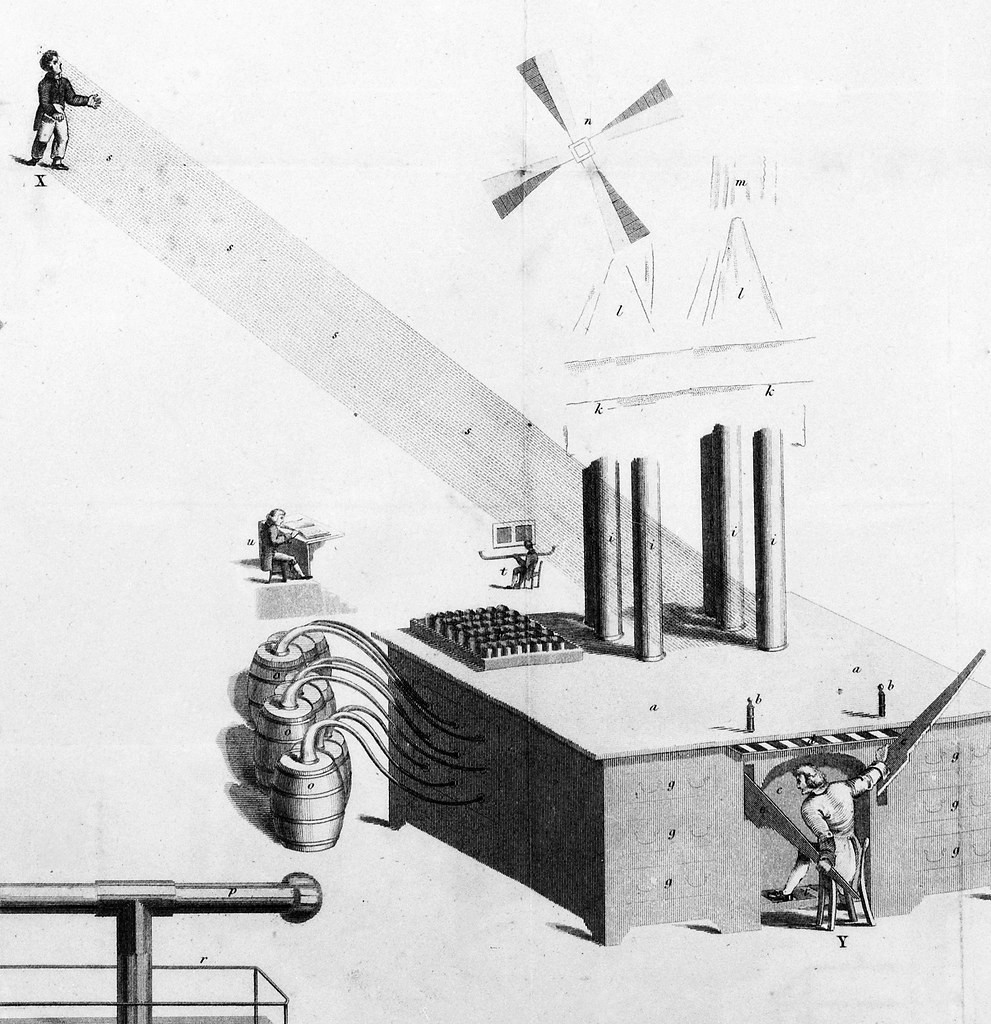 A large machine is in the foreground with pipes, connected to barrels. A figure sits at the helm with a large saw-like device directing rays towards a small figure in the upper-left corner. Two other figures sitting at desks are in the center. There are also smaller sketches of devices of unclear purpose around like a fan or windmill and another pipe system.