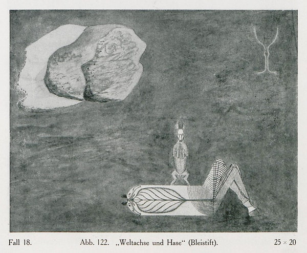 A crayon-drawn rabbit stands atop a humanoid-animal figure on its back and looks at the viewer. Behind it and to the right are a pair of deer antlers. To the left is a large stone uncovering the single white space on the blurred, gray background