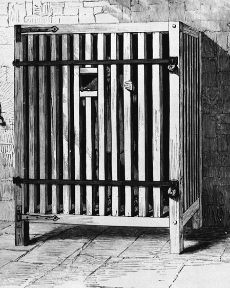 A cage in a Belgian asylum