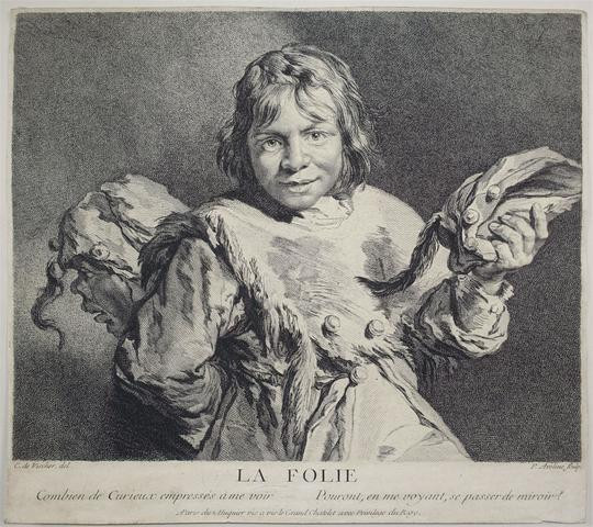 The figure of the fool looks at the view, holding a fools cap in his left hand and hiding another figure behind his back. He is wearing a fur draped over his chest.