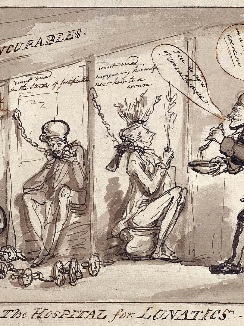"""Thomas Rowlandson. """"Bethlem Hospital, London: the incurables being inspected by a member of the medical staff, with the patients represented by political figures."""""""