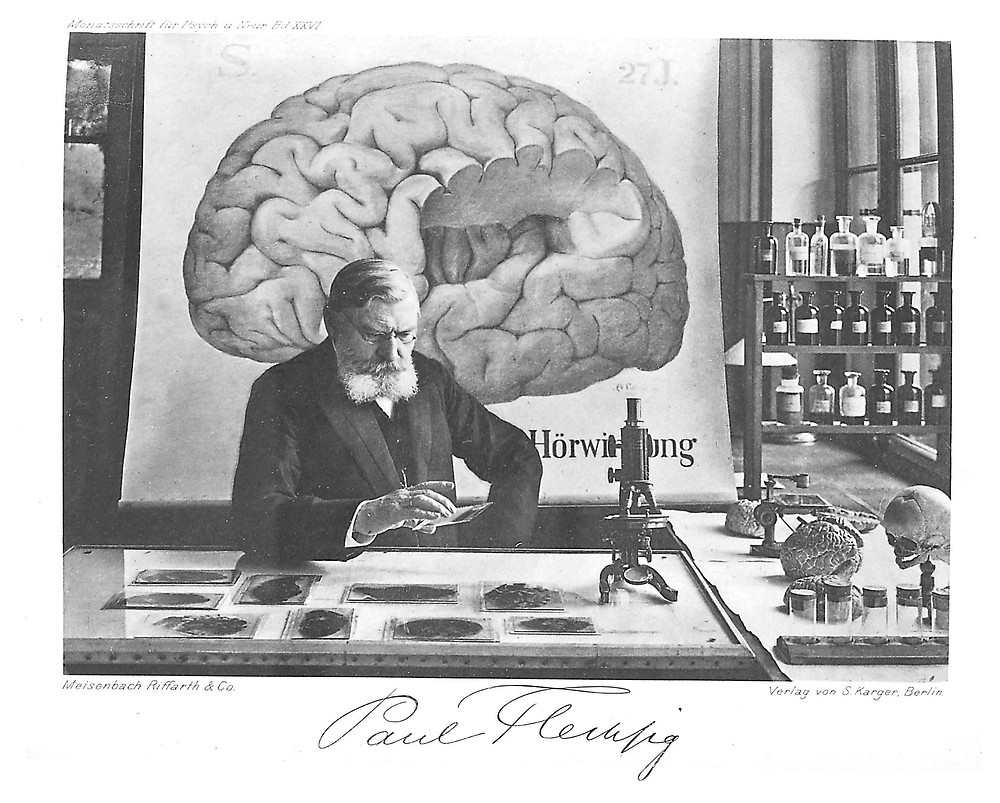 German psychiatrist Paul Emil Flechsig at his desk surrounded by images and models of brains.