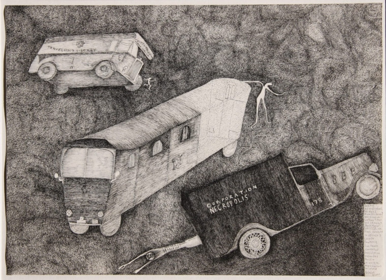 """Smudgy ink lines form the background Three vehicles are the main figures of the image. They look like long busses or transportation vehicles. One has the words """"Corporation Necropolis"""" written on the side and is dragging an alien-like figure behind it. All three are floating in an ether, and not stationed on the ground."""