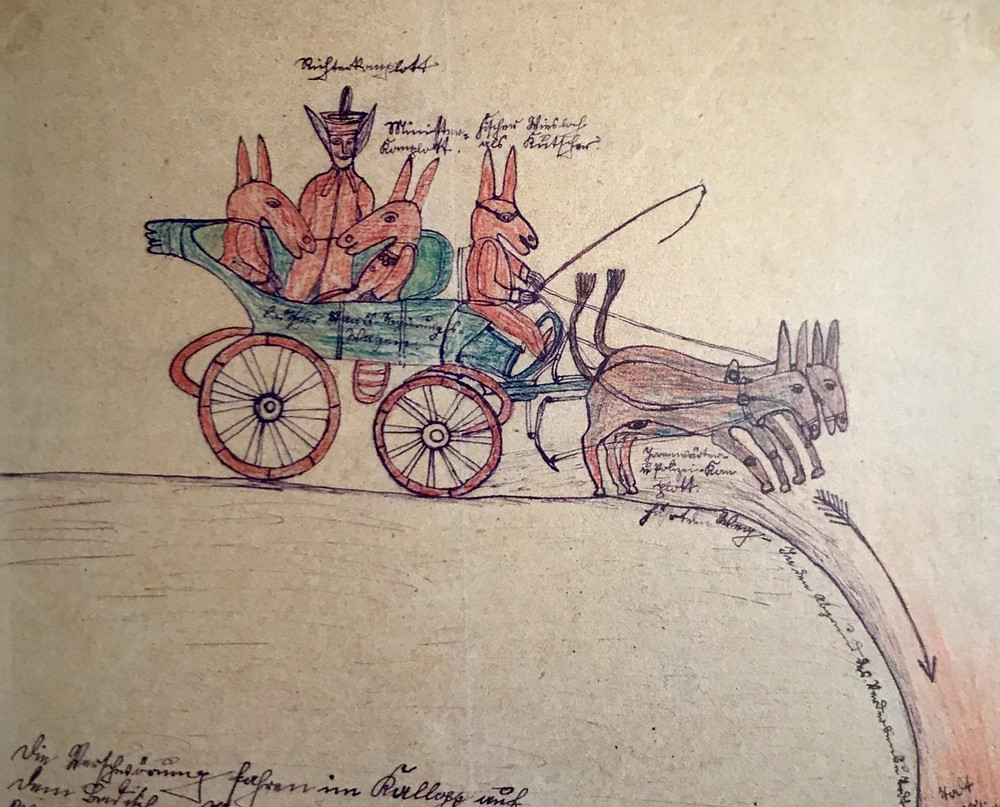 Four humanoid figures with animal heads (donkeys or maybe rabbits) ride a horse-drawn carriage over a cliff. There are words (transcribed in the caption) surrounding them.