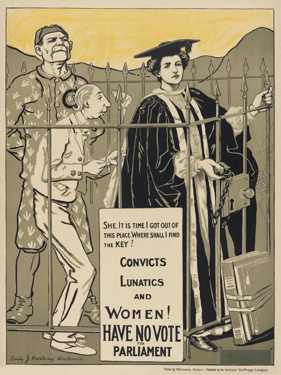"""A woman dressed as a university grad stands beside a """"lunatic"""" who is portrayed with a small, shrunked face and a long nose with bad posture, and a """"criminal"""" who is tall and haughty with evil intent, perhaps. They are all inside a cage but the woman holds the lock up asking the viewer to let her out."""