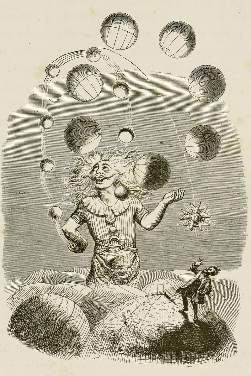 A clown-like figure juggles planets on the horizon while an awe-struck man watches atop another planet in the foreground.