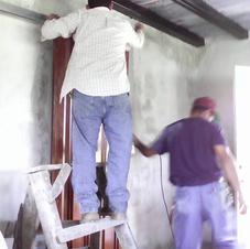 Bro Denis installing metal barn door