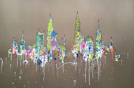 SKYLINE 28 x39 inches acrylic and marker