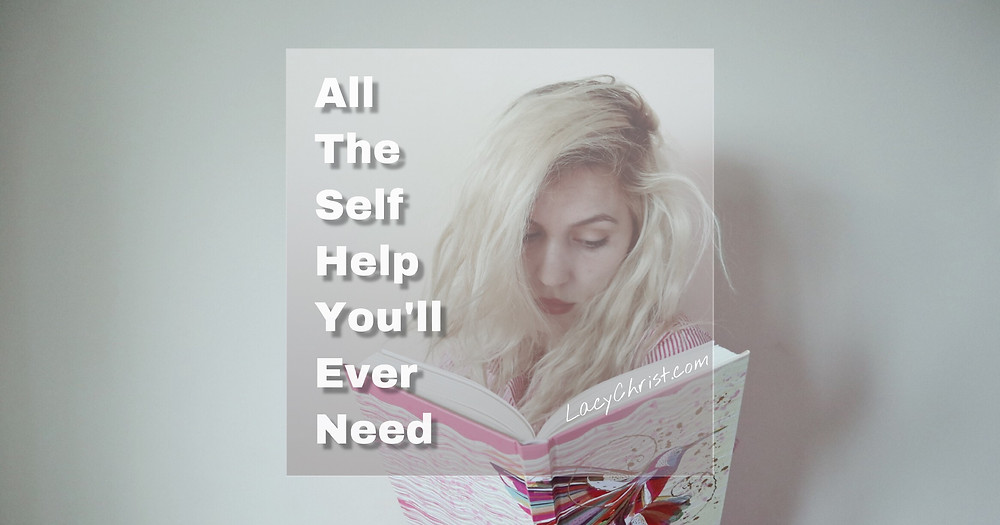 woman reading a self help book