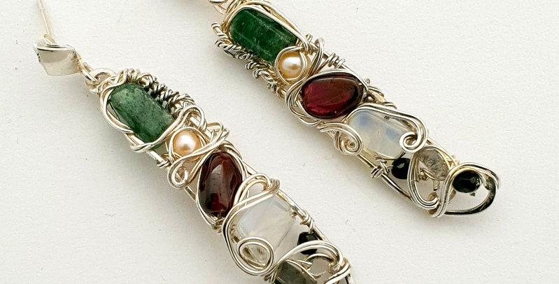 Längliche Silberne Ohrringe mit diverse Edelsteinen