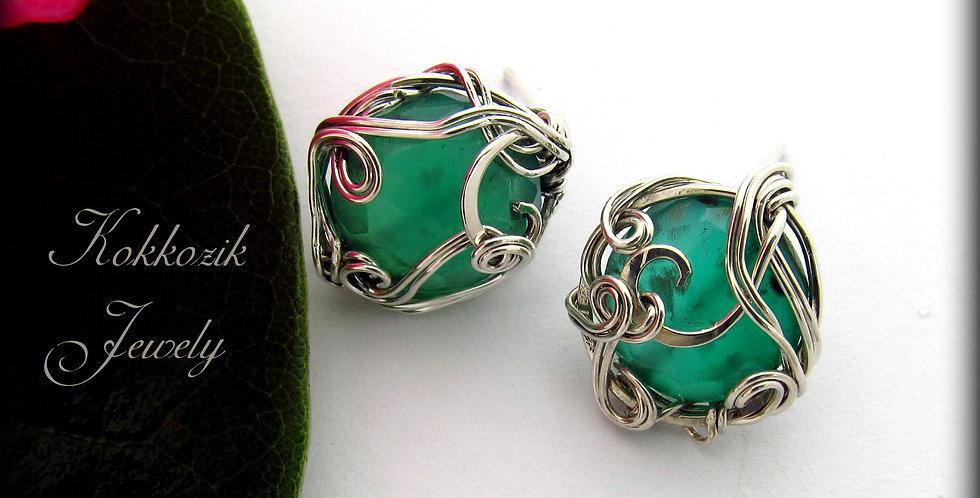 Silberne Ohrringe mit Jade