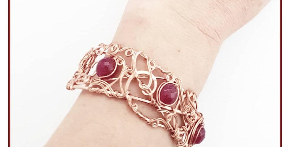Kupfer Armband mit rote Achatperlen
