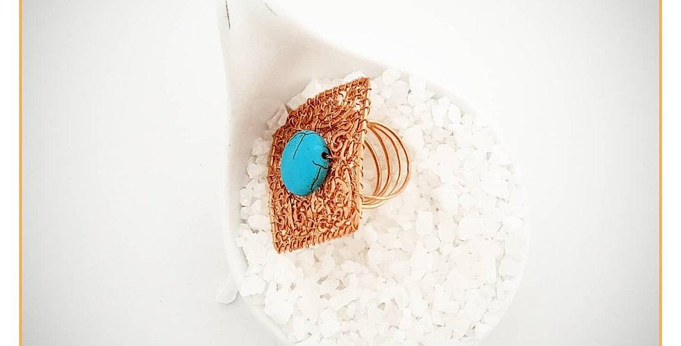 Verstellbarer Ring aus Kupfer und Türkis Perle