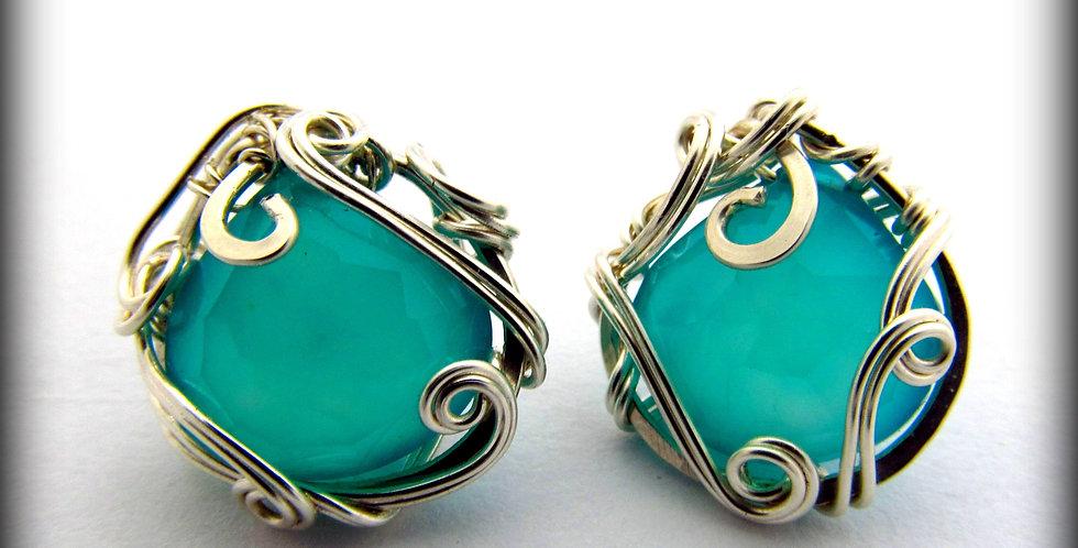 Silberne Ohrringe mit Chrysokoll