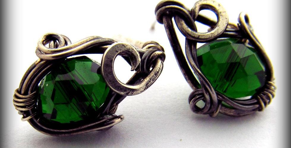 Silberne Ohrringe mit Kristall-Perlen