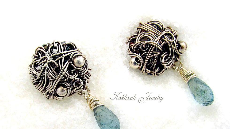 Silberne Ohrringe mit Aquamarine