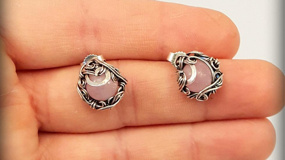 Silberne Ohrringe mit Rosen Quarz