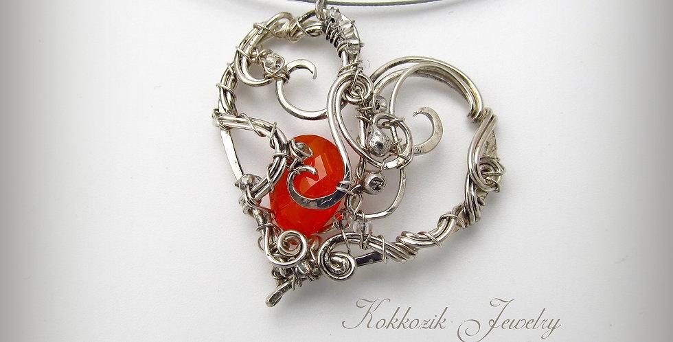 Silberner Herz Anhänger mit Karneol