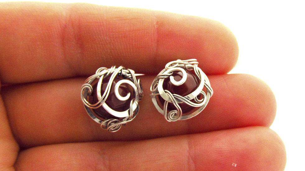 Silberne Ohrringe mit Karneol