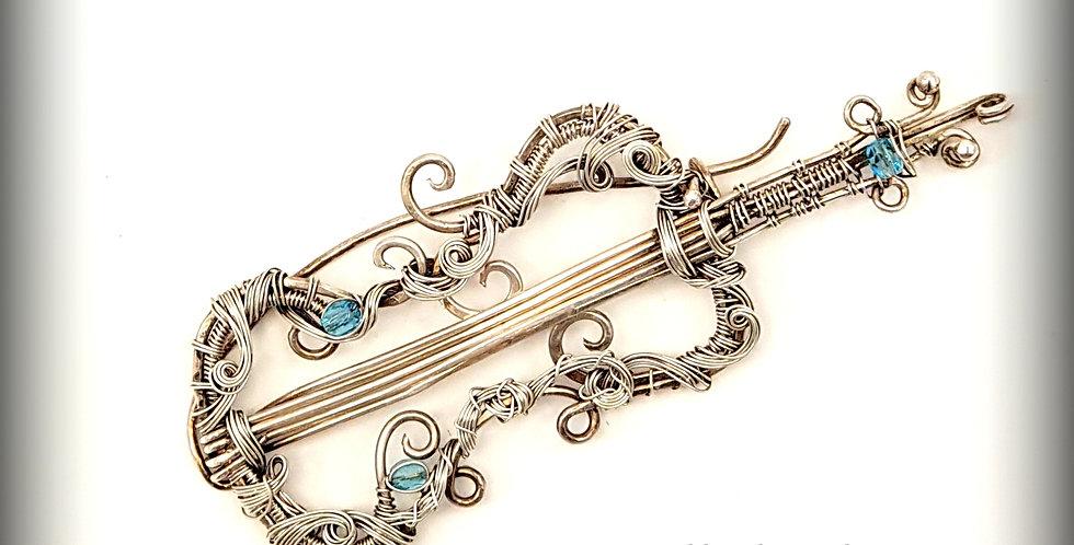 """""""Cello"""" Silberne Brosche"""