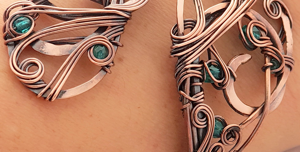 Kupfer Armband mit Glas-Perlen