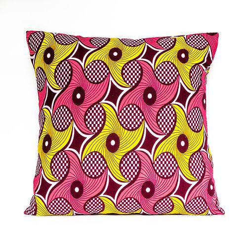 Pinwheels ankara African print Peach & Yellow decorative pillow cover