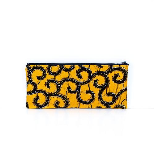 Yellow and black Vines African print ankara essentials zipper pouch