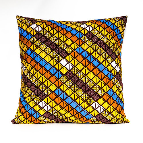 Arrows yellow, blue, and orange African print decorative pillow cover