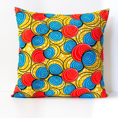 Spirals red, blue, and yellow African print throw pillow cover