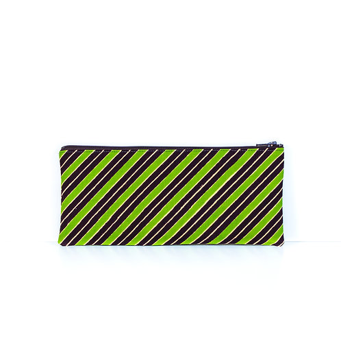Green, brown, and cream African print ankara essentials zipper pouch