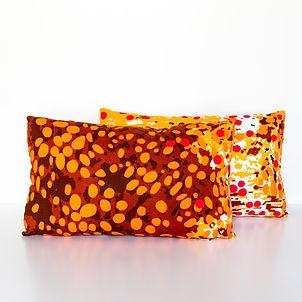 Orange African print lumbar decorative throw pillows