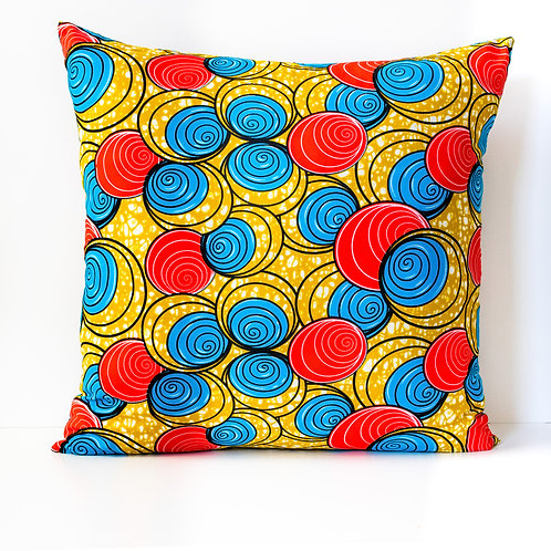 Red, blue and yellow Spirals ankara African print decorative pillow cover