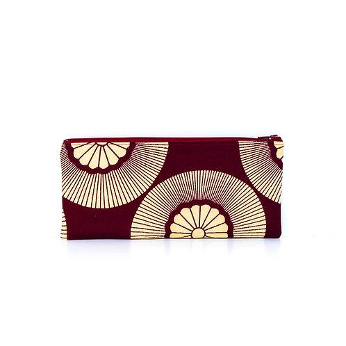Burgundy and beige rose window ankara African print zipper pouch organizer 3