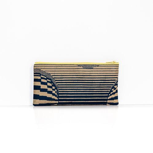 Navy & Brown ankara African print zipper pouch organizer