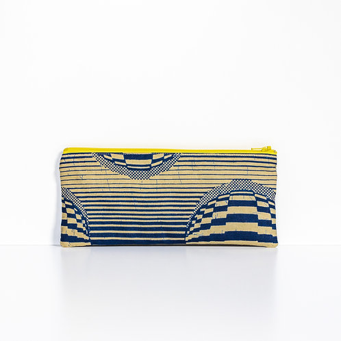 Navy Stripes African print zipper pouch organizer