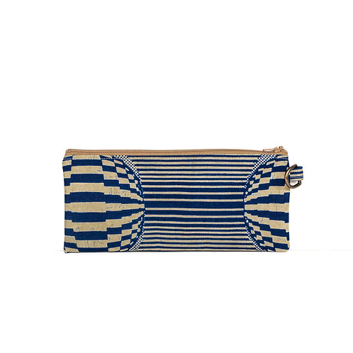 Navy Stripes African print essentials zipper pouch with D-ring