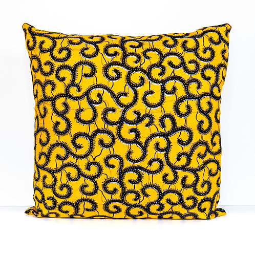Black vines on yellow ankara African print decorative pillow cover