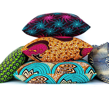 Collection of colorful African wax print decorative pillows