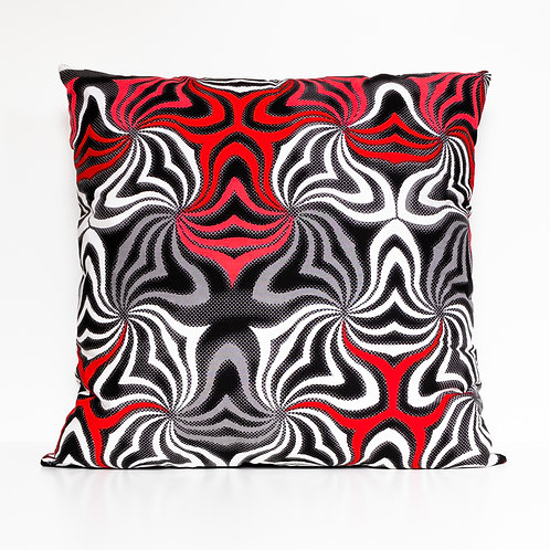 Waves African print red, white, and gray decorative pillow cover