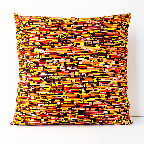 Zesty Orange abstract African print decorative pillow cover