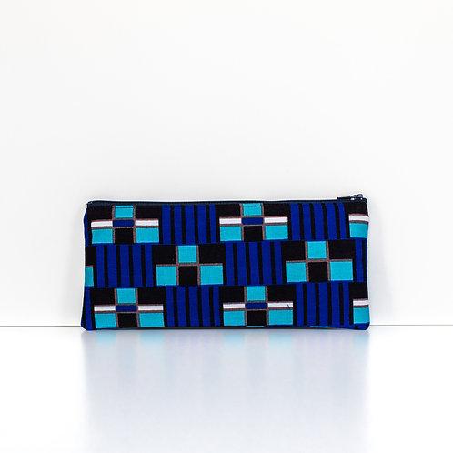 Geo Blue African Print Zipper Pouch