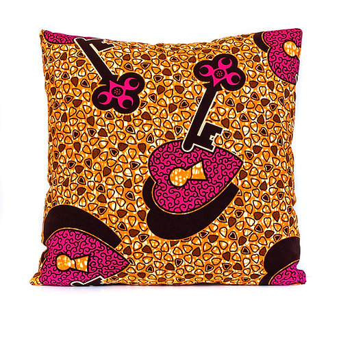 Hearts Unlocked African print decorative pillow featuring hearts and keys