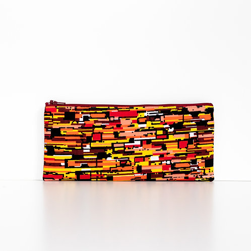 Zesty Orange African print zipper pouch organizer